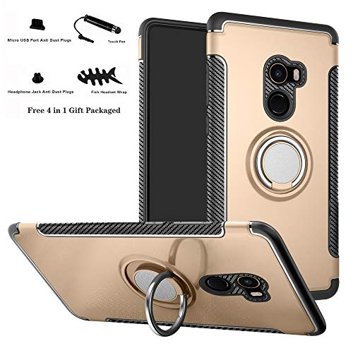 Labanema Xiaomi Mi Mix 2 Funda, 360 Rotating Ring Grip Stand Holder Capa TPU + PC Shockproof Anti-rasguños teléfono Caso protección Cáscara Cover para Xiaomi Mi Mix 2 - Oro