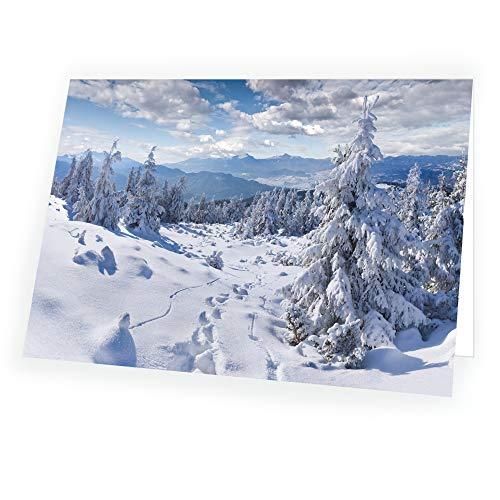 Högkvalitativt julkort kapning garvning i format 17,0 x 12,0 cm med passande kuvert 5 x kort 5 st. kuvert
