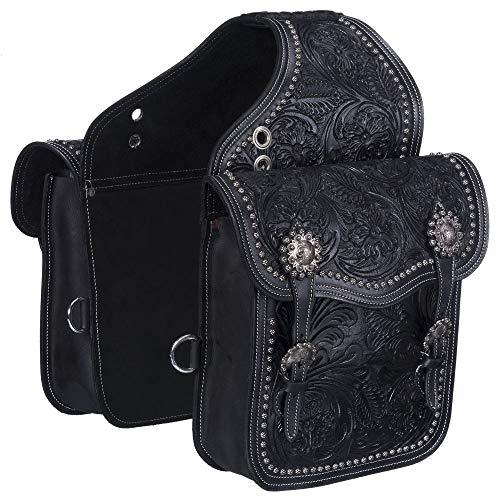 Tough 1 Saddle Bag Tooling Adjustable Buckle Leather Black 61-9915