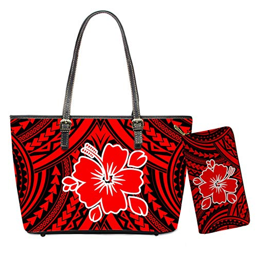 MODEGA Party Handbags Polynesian Red Plumeria Purse Women Top Handle Bags Leather Wallet Zipper Closure Slim Credit Cards Coins Organizer Bag Red Black Tattoo Shopping Tote Bag