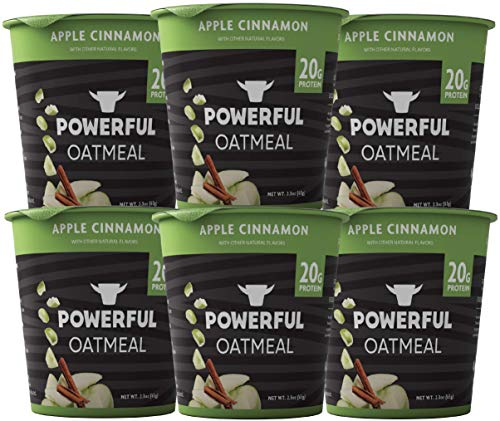 Powerful Instant Oatmeal Cup, High Protein, Whole Grain, Kosher, Natural Ingredients, 20g Protein, Apple Cinnamon, 6 Pack