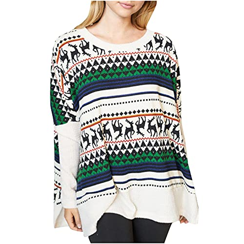 Womens Merry Christmas Shirt Tops Funny Graphic Knit Sweater Casual Crewneck Long Sleeve Side Slit Oversized Pullover