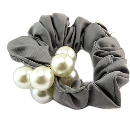 Les Trésors De Lily [P6097] - Chouchou créateur 'Sissi' gris ivoire (satin) - largeur 2.5 cm