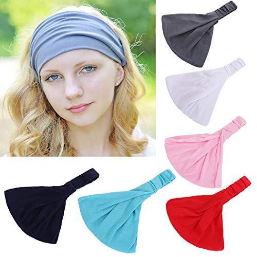 Bohend Sport Weise Frauen Stirnbänder Schwarz Haarbänder Baumwolle Dehnbar Bandeau Mode Schweißband Reine Kopfbänder Für Mädchen (6 Packung )