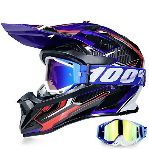 YASE Casco Motocross per Bambino/Adulto Sport Moto Cross Enduro Con Occhiali per Caschi ATV BMX Quad Cross Integrale Downhill DOT Omologato Ragazza Ragazzo Off-road (Nero Blu,S (52-53 CM))