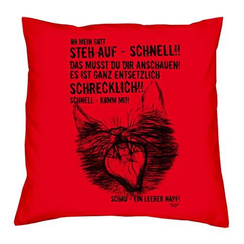 Soreso Design EIN leerer Napf Katzen-Motiv :: Kissen mit Füllung 40x40 cm Tolle Geschenkidee Geschenk für Sie und Ihn für Katzenliebhaber Farbe: rot