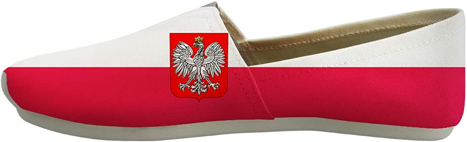 Owaheson Classic Canvas Slip-On Lightweight Driving shoes Soft Penny Loafers Men Women Poland Flag National Emblem