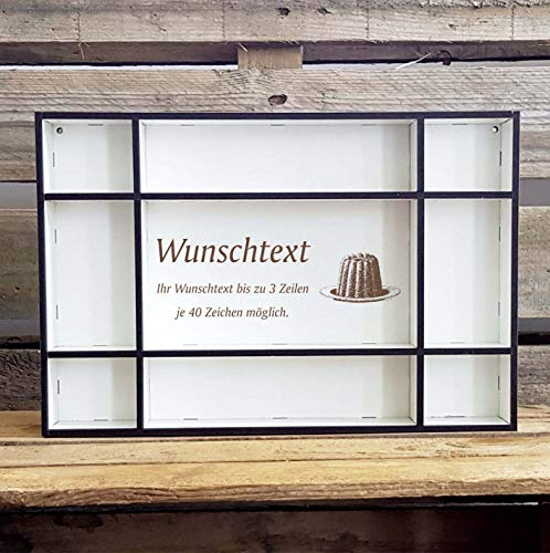 DEKOLANDO Setzkasten « Kuchen » mit persönlicher Wunschgravur und Motiv - Größe (B x H x T) ca. 33,5 x 22,5 x 4,5 cm - Regal Dekoration Würfelregal - Bäcker Kuchenbäcker
