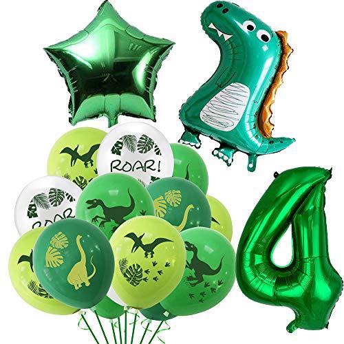 Dino Luftballons Geburtstag 4 Jahr, Geburtstagsdeko Kinder 4. Geburtstag Party Dekoration Dinosaurier Kindergeburtstag Deko Riesen Folienballon Zahl 4, Geburtstag Ballons für Junge Mädchen Babyparty