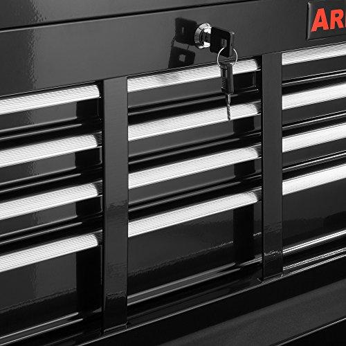Arebos Werkstattwagen 9 Fächer/zentral abschließbar/Anti-Rutschbeschichtung/Räder mit Festellbremse/Massives Metall/rot oder schwarz (Schwarz) - 6