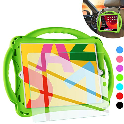 TopEsct iPad 7th Generation Case for Kids,with Tempered Glass Screen Protector and Strap,Premium Silicone Shockproof Apple New ipad 10.2 2019 Case Cover with Kickstand and Pencil Holder. (Green)
