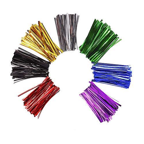 Metálico Lazos de Torcedura,700 Piezas Precintos Metálicos Giro Lazos de Pan de Oro Corbatas Metálicas Alambre Decorativo para Bolso de Celofán Selladores de Bolsa de Plástico Alambre 7 Colores