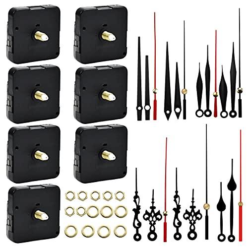 7 Stück Uhrwerk für Wanduhr Lautlos, Quarzuhrwerk mit Zeiger, Metagio Langschaft Clock Mechanism zum Basteln, Funk Uhrwerk Teile Reparatur-Kit mit Hände