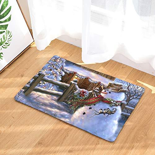 Lee My Precioso Felpudo navideño con muñeco de Nieve navideño y Tres pajaritos Alfombrillas de Bienvenida para la Puerta Principal, Colorida Alfombra Lavable,Merry Christmas,80 * 160cm