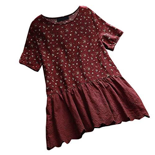 MRULIC Damen Leinenbluse Kurzarm Einfarbig Frauen Sommer Casual T-Shirt Tops Shirts Tunika Hemd Pullover FrüHling Oberseiten Saum Mit RüSchen(A4-Wein,5XL)
