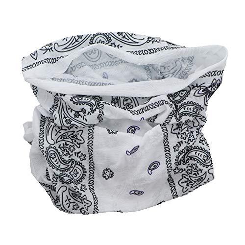 Paisley Bandana Neck Gaiter Tube Headwear Motorcycle Face Scarf - White Black