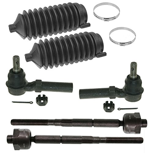 Complete 6pc Inner Outer Tie Rod w/Rack and Pinion Boot Kit - 4WD & 2WD Torsion Bar Suspension fits 2004-2005 Chevy Colorado and Canyon 4x4 + 2WD Torsion Bar