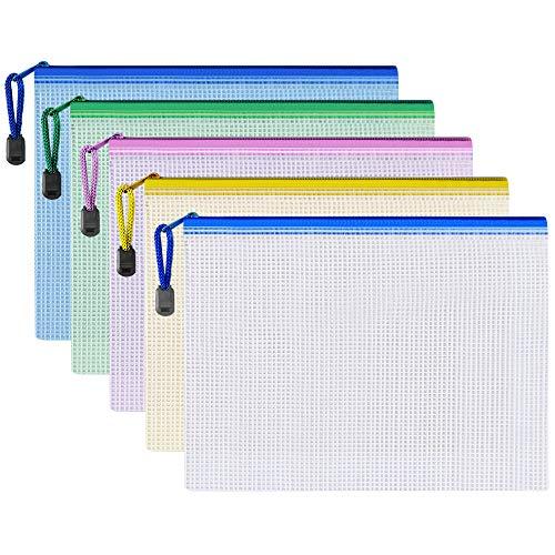 20 Stück A5 Reißverschluss-Datei Taschen Dokument wasserdichte Tasche Paket Brieftasche Plastiktaschen mit Reißverschluss für Reisedokument, Kosmetik, Quittungen Lagerung, Lernen Utensilien