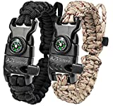A2S Protection Paracord Bracelet K2-Peak – Survival Gear Kit with Embedded Compass, Fire Starter, Emergency Knife & Whistle (Black/Sand Camo Adjustable Size)