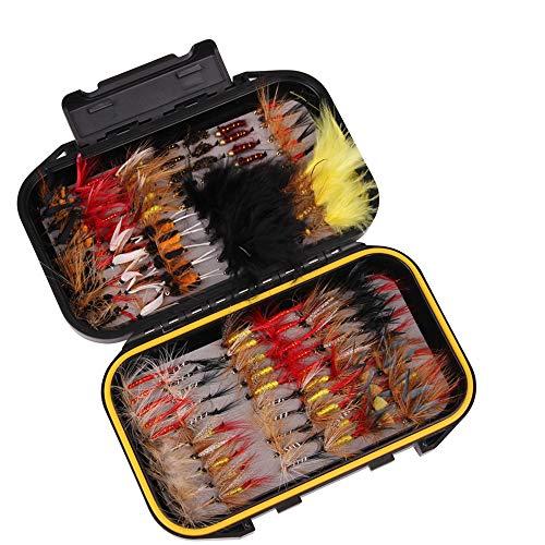 120pcs Kits de Pesca con Mosca, MKNZONE Cebos Artificiales de Hechos a Mano, Accesorios Cebos Articulos de Pesca para la Pesca, Trucha, Bagre, Bass, Salmón y Lucio#7