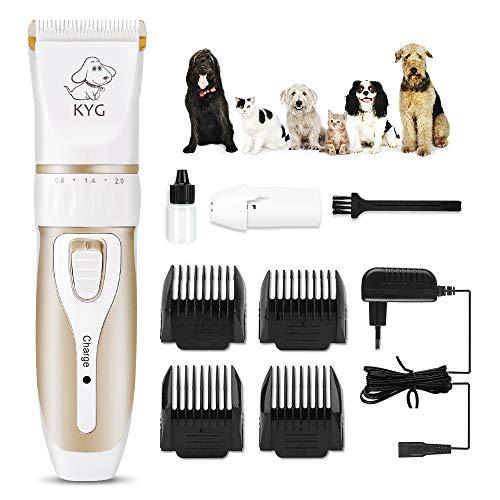 KYG Cortapelos Inalámbrico para Mascotas Bajo Ruido, Carga Rápida, con 4 Guías de Peine, Máquina Cortapelo para Perros, Gatos y Otros Animales