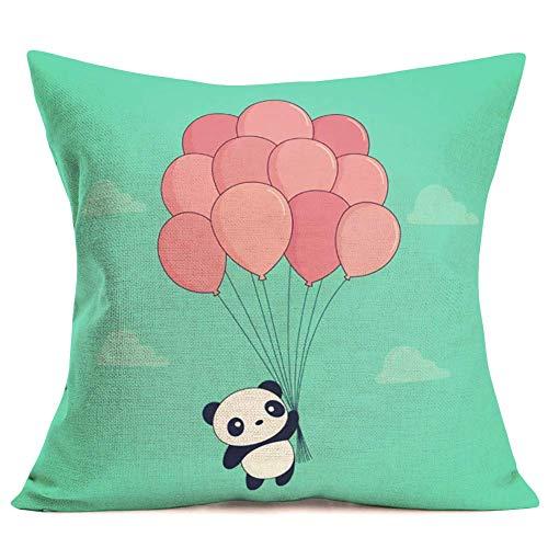 375 Panda - Fundas de almohada para el hogar, sofá, habitación de los niños, diseño de animales de dibujos animados con globo