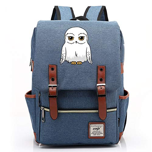 MMZ Teenagers Casual Backpack Unisex owl School Bag Notebook Bag Retro Hiking Backpack Harry Potter Large (Style11)