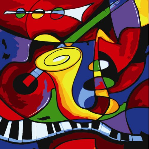 Colour Talk DIY Oil Painting, Paint by Number kit - Worldwide Famous Oil Painting Abstract Music by Picasso 16x20 Inch