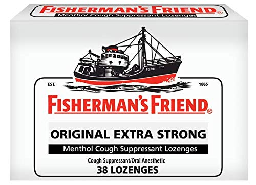 Fisherman's Friend Cough Drops, Cough Suppressant and Sore Throat Lozenges, Original Extra Strong, Strong and Soothing Natural Menthol Flavor, 10mg Menthol, 38 Count (Pack of 6)