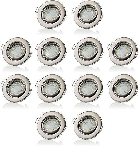 Sweet led lot de 12 x ® spot led gU10 blanc chaud 230 v 5 w 400 lm châssis/montage spots led encastrables/kHL/installation Chrom gebürstet - Kaltweiß