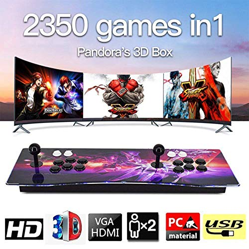 HLLGAME Pandora's Box 3D Home Arcade Game Console Konsole, 2 Spieler, 1280x720 Full HD Multiplayer Arcade Joystick Spiele Game, 2710 Spiele All in 1 Double Stick Buttons Power HDMI/VGA/USB/AUX, QC09