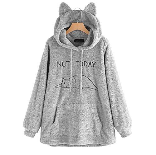 """soweilan Damen-Sweatshirt, Aufschrift """"Not Today"""" süßes Katzenmotiv. Langarm-Kapuzenpullover für weibliche Teenager Gr. S, grau"""