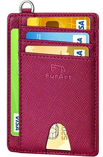 FurArt Portefeuille Minimaliste Fin, Porte-Cartes de Crédit avec Blocage Anti RFID, Les Femmes Hommes, Démontage Manille en D,Bourgogne Saffiano