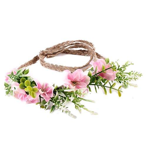 Ever Fairy Corona de flores hecha a mano floración diadema bebé niña niño arbolado hoja verde corona floral corona (rosado)