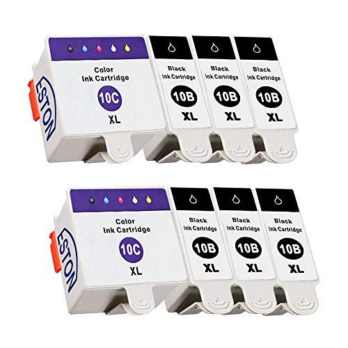 ESTON 8 Pack for Kodak 10XL 10B Black and 10C Colour Combo Pack Ink Cartridge Fit ESP 3250 5250 6150 7250