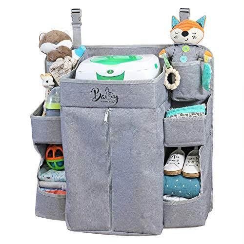 Llama Bella Premium Nursery Organizer and Baby Diaper Caddy | Hanging Diaper Organizer for Baby Essentials | Diaper Organizer for Crib, Changing Table or Playard | Baby Crib Storage Organizer (Grey)