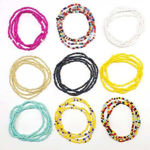 XIGAWAY 9 Colors Multilayer Stretchy Bracelets Seed Bead Belly Waist Chain Body Jewelry