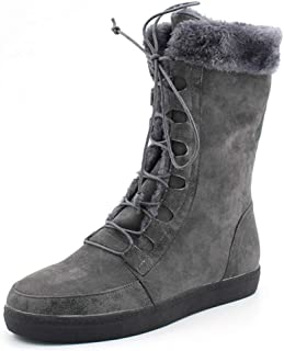 Women Round Toe Flat Boots Lace-Up Middle-Tube Non-Slip Warm Snow Shoes Winter Cowboy Boots