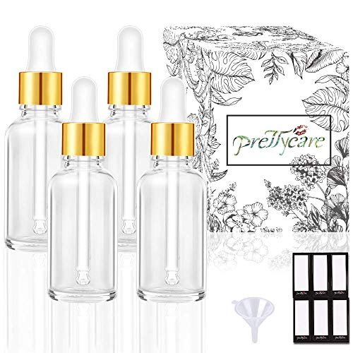 PrettyCare Eye Dropper Bottle 1 oz (4 Pack Clear Glass Bottles 30ml with Golden Caps, 1 Extra Plastic Measured Pipettes, 12 Labels, Funnel) Empty Tincture Bottles for Essential Oils, Perfume