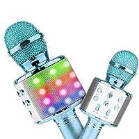 4tunate カラオケマイク ワイヤレスマイク 高音質 ポータブルスピーカー 無線マイク ワイヤレス Bluetooth ノイズキャンセリング (blue)
