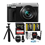 Panasonic LUMIX ZS80 24-720mm Travel Zoom Lens Digital Camera (Silver) Bundle with 64GB Extreme Pro, 2 Battery/Dual Charger kit, Spider Tripod, and Camera Accessory Bundle