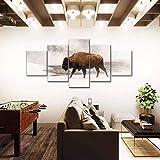 ARIE Painting 5 Piezas Cuadro sobre Lienzo Imagen Bisonte De Yellowstone De Invierno Canvas De 5 Pieza Mural Moderno Decor Hogareña Regalos Creativos para Navidad Decorar