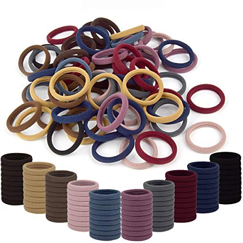 Thick Hair Ties Ponytail Holders-OakMethod No Tangle Hair Bands-Stretch Cotton Hair Ties Bands for Women(100 pcs)