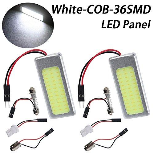 TABEN - 2 luces led COB de bajo consumo 36-SMD superblancas para techo interior del coche, luz de placa de lectura con cable con adaptadores T10/BA9S/Plafón