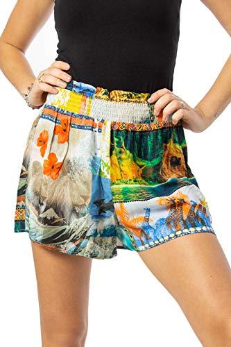 Desigual Hawai 20swmw23 - Pantalones Cortos para Mujer Naranja L