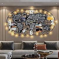壁掛け時計のリビングルーム、クリエイティブなDIYデコレーションワールドマップ壁掛け時計のリビングルームのベッドルームクリエイティブミュートモダンラージ、100 * 52