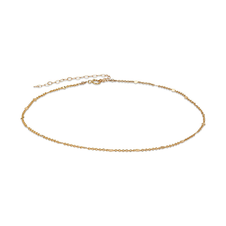 Genuine Gold Choker Dainty Chain for Women Short Long-awaited Necklace