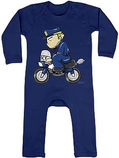 HARIZ HARIZ Baby Strampler Polizist Lustig Motorrad Polizei Witizg Inkl. Geschenk Karte Matrosen Dunkel Blau 3-6 Monate