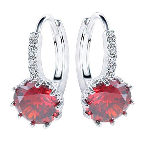 joyMerit 1 Par de Pendientes Elegantes de Cristal con Diamantes de Imitación para Mujer, Pendientes con Hebilla de Clip para Oreja, Joyería en 9 Colores - Granate Rojo, Plata