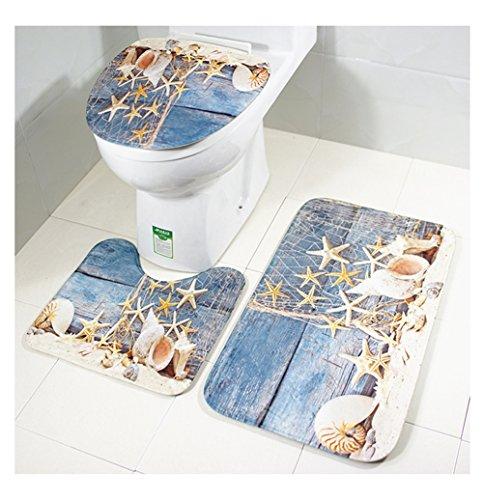 Moolecole Beach Seashells Starfish Sand Bath Mat Holidays Summer Bathroom Carpet Rug Non-Slip 3 Piece Toilet Mat Set (Starfish/Conch)